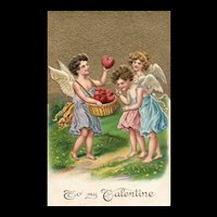 Stunning 100 year old Vintage Valentine with Cupids and Hearts