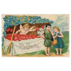Valentine Heart Booth Cupids ready to go Series 700 Forget Me Not Flowers Vintage Postcard