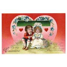 1913 Signed Ellen Clapsaddle Vintage Valentine Postcard Love's Paradise 4236
