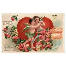 1908 Cupids Dance by big Red heart with an Arrow through it Vintage Valentine Postcard  Series 173