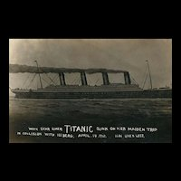 Early Real Photo White Star Liner Titanic Sunk on Maiden Trip April 14, 1912