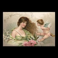 To My Valentine Gorgeous woman face to face with Cupid Postcard
