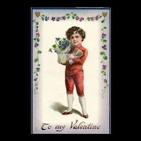 Raphael Tuck Valentine Posies Series NO 17 Boy delivers flowers
