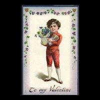 Raphael Tuck Valentine Posies Series NO 17 Boy delivers flowers