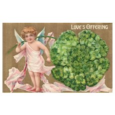 Lucky In Love Cupid Angel Love's Offering with large Clover 8108 Vintage Valentine postcard
