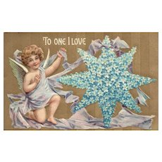 2 of 2 vintage Valentine Forget Me Not Star Series 8108