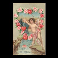 Hearty Greetings Fairy cupid Angel fishing for hearts Vintage Valentine Roses