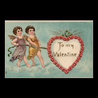 To My Valentine Cupids pulling heart Embossed gold gilt Vintage Valentine postcard