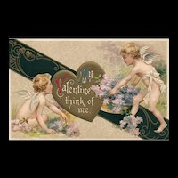 Beautiful John Winsch Vintage Valentine Cupids with flowers vintage postcard