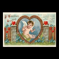 Ellen Clapsaddle St Valentines greeting tangled web of love Vintage Valentine Postcard