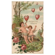 St Valentine's Offering Blowing heart Bubbles Series 102 vintage Valentine postcard