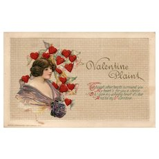 Gorgeous John Winsch Lonely hearts surround beauty Vintage Valentine postcard