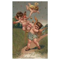 "1910 PFB Playful cupids Vintage Valentine Series 8032 ""To My Valentine"" postcard"