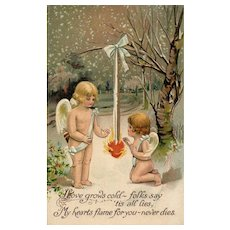 BB London  Series V4 Burning heart warms two Cupids Vintage Valentine Postcard