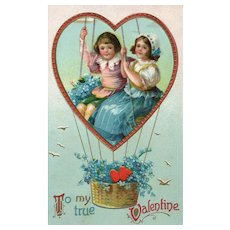 Ellen Clapsaddle Children Float away in balloon of love vintage Valentine postcard