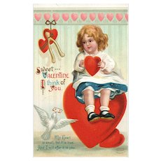 Ellen Clapsaddle Garre Vintage Valentine postcard Little girl on heart