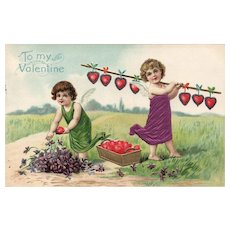 1910 Silk Vintage Valentine Postcard Cupids Working on hearts