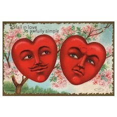 """""""To Fall in Love..."""" 1909 Fantasy style romantic hearts with faces Vintage Valentine Taggart Series 403"""