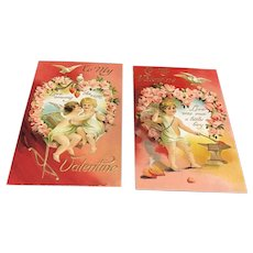 Set of 2 BB London V3 Series Vintage Valentine Postcards Cupids at work