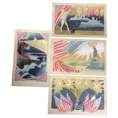 Set of 4 Vintage Glorious 4th Fourth of July Patriotic Postcards