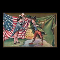 Vintage Patriotic U.S.A. meets Irish Top O the Mornin to You Postcard