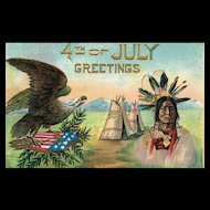 Vintage Patriotic Fourth 4th of July Greetings Eagle Indian Postcard
