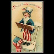 Signed Ellen Clapsaddle Vintage Patriotic Yankee Doodle Came to Town Uncle Sam Boy singing