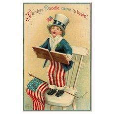 Signed Ellen Clapsaddle Vintage Patriotic Yankee Doodle Came to Town Uncle Sam Boy singing
