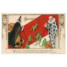 1913 John Winsch Samuel Schmucker Halloween Witch Goblins Clown vintage Postcard