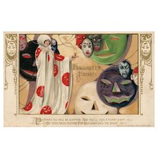 1913 John Winsch Samuel Schmucker Halloween White witch Masks vintage Postcard