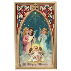 1921 Easter Gel Guardian Angels over baby Jesus Religious vintage postcard Stained glass