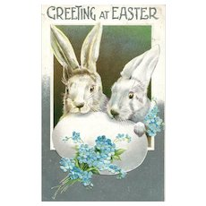 1910 BB London Series 2503 Easter Bunny Rabbits vintage postcard