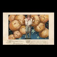 1913 John Winsch Samuel Schmucker Halloween Boy with Jack O Lanterns vintage Postcard