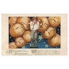 1913 John Winsch Samuel Schmucker Halloween Boy with Jack O Lanterns vintage Postcard