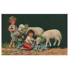 PFB 1909 Easter Greetings Girl children with Lambs Forget Me Not #7482