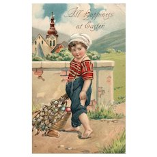 1910 Quality vintage Easter postcard boy delivers eggs & Pussy willows