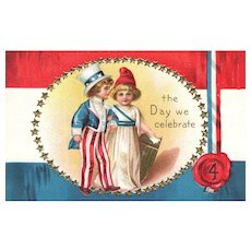 Patriotic The Day We Celebrate Uncle Sam Lady Liberty Fourth of July Postcard