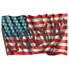 Rustic Fourth of July American Flag Patriotic Rare Postcard