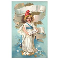 Patriotic Lady Liberty with Choir Book Singing the National Anthem Postcard