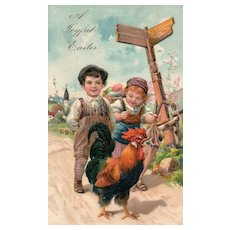 Beautiful PFB Easter children with Rooster Vintage postcard #6800