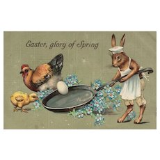 1909 Easter Bunny Rabbit frying an egg In Pan Series 358 vintage postcard
