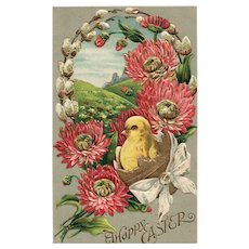 Gold Gilt embossed Easter Postcard Chick Flowers vintage postcard