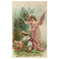Guardian Easter Angel protects young girl with a basket of Easter eggs Vintage postcard