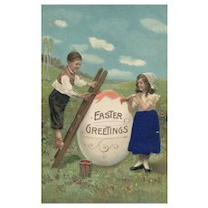 1911 Easter Children paint a large Egg for Greetings   Novelty Art Series Silk 1251 Vintage postcard