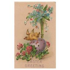 Gold gilt Easter Chick Vintage Postcard Egg & Vase of flowers