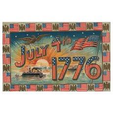 Patriotic July 4th Fourth 1776 Red White Blue Stripes Flag Eagle Ship Postcard