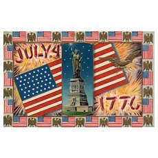 Patriotic July 4th Fourth 1776 American Flag Eagle Statue of Liberty Postcard