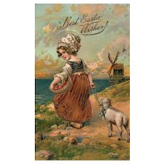 PFB series 6806 Dutch Girl with her lamb and eggs Windmill Gold Gilt