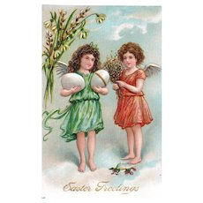 No 66 Gold Gilt Embossed Angels Greeting Easter From Above Holding Eggs and Flowers Easter Postcard