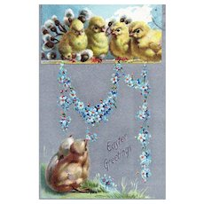 Tuck No 701 Silver Metallic Chicks Perched Above Blue Flower Garland Easter Greetings Postcard